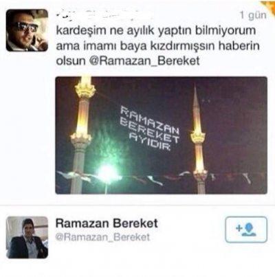 İsmi 'Ramazan Bereket' olan bi adam varm