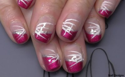 Pink nail design with line pattern. Nice choice to