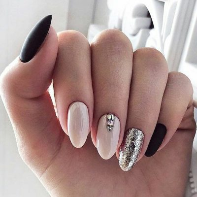 Black, white and silver. 3 nail design t