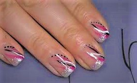 Black, white, pink and silver nail design. Colorfu